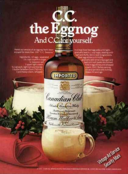Canadian Club Christmas Eggnog Recipe (1979)