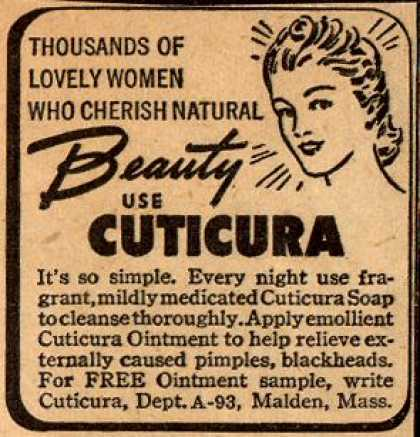 Cuticura – Thousands Of Lovely Women Who Cherish Natural Beauty Use Cuticura (1945)