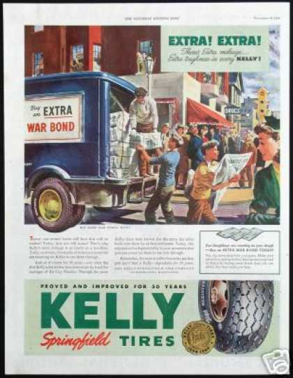 WWII Newspaper Delivery Truck Art Kelly Tire (1944)