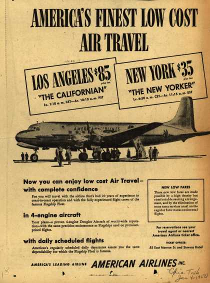 American Airline's Low Fares – American's Finest Low Cost Air Travel (1950)