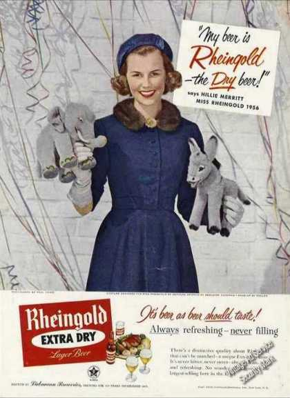 Rheingold Beer Hillie Merritt Photo Ad Politics (1956)