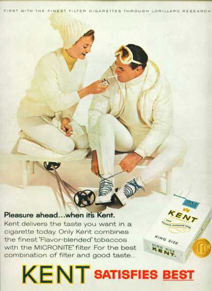 Kent Cigarettes Cute Couple In White Ski Attire (1965)