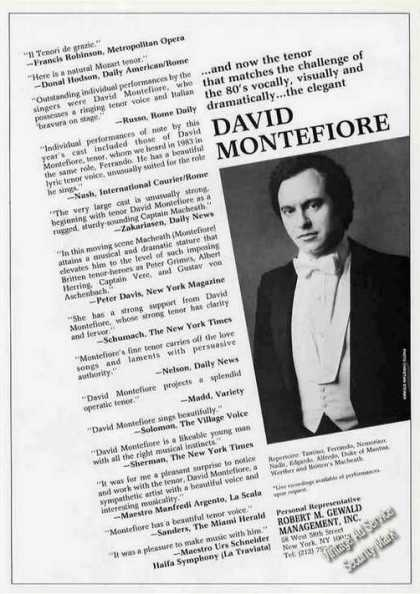 David Montefiore Photo Tenor Booking (1986)