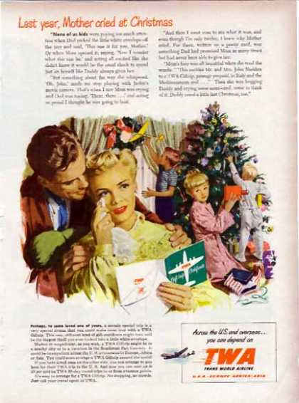 TWA Trans World Airline Holiday – Gift Trip Certificate – Sold (1948)