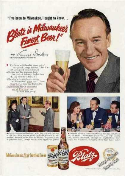 George Sanders Photos Nice Blatz Beer (1951)
