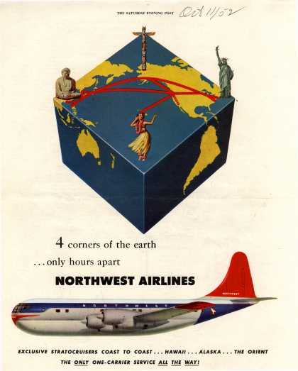 Northwest Airlines – 4 corners of the earth... only hours apart (1952)