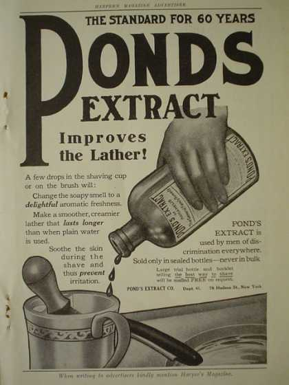 Pond's Extract improves the lather (1910)
