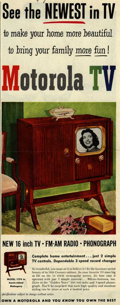 Motorola's TV-Radio-Phonograph – See the Newest in TV to make your home more beautiful to bring your family more fun! Motorola TV (1950)