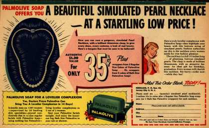 Palmolive Company's Palmolive Soap – Palmolive Soap Offers You A Beautiful Simulated Pearl Necklace – At A Startling Low Price (1951)