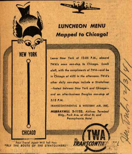 Transcontinental & Western Air's Chicago – Luncheon Menu Mapped to Chicago (1941)