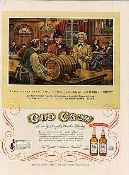 "Old Crow Bourbon Whiskey Ad ""Mark Twain Asks... (1955)"