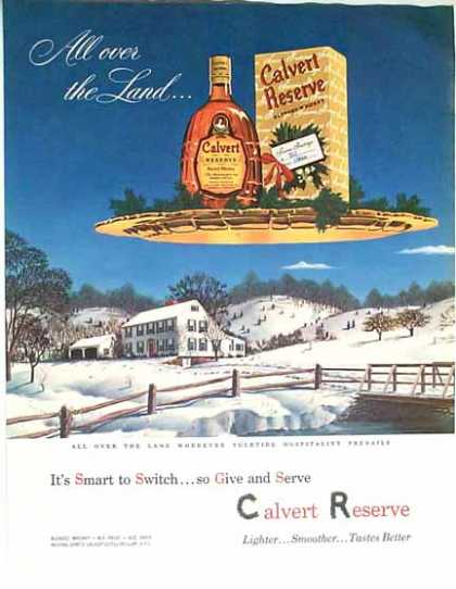 Calvert Reserve Whiskey Holiday – Snow Scene (1949)