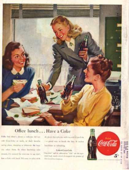 Coca Cola Secretary Typewriter Lunch Break Coke (1947)