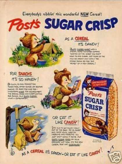 Post's Sugar Crisp Cereal Ad Bears Camping (1950)