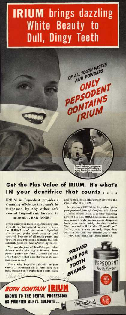 Pepsodent Company's tooth powder – IRIUM brings dazzling White Beauty to Dull, Dingy Teeth (1940)