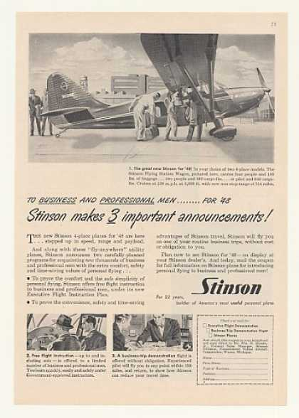 Stinson Flying Station Wagon Airplane for 1948 (1947)