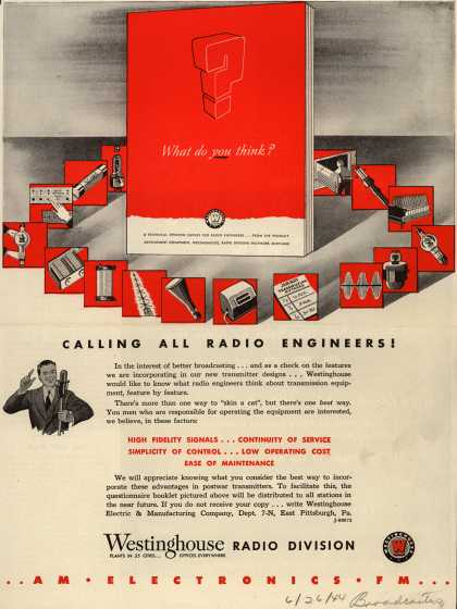 Westinghouse Electric & Manufacturing Company's Transmitters – Calling All Radio Engineers (1944)
