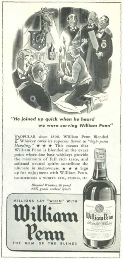 Willaim Penn Whiskey Peoria Illinios (1945)