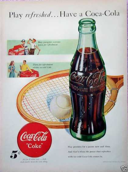 Coca Cola Coke Tennis Racket Ball Play Refreshed (1948)