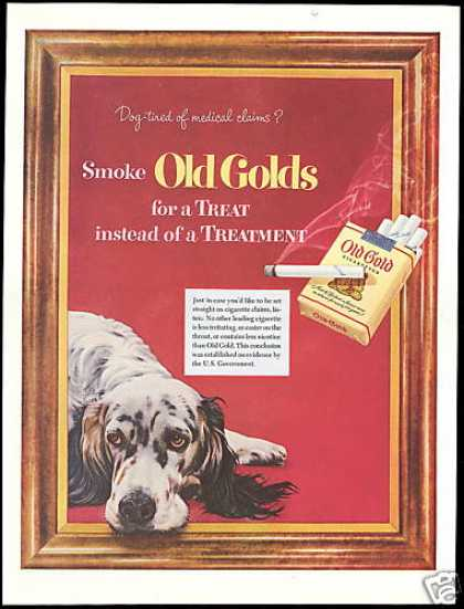 English Setter Dog Old Gold Cigarette (1952)
