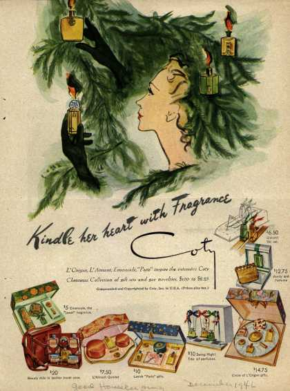Coty's Cosmetic gifts – Kindle her heart with Fragrance (1946)