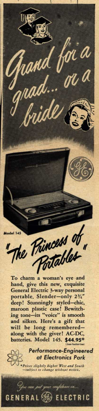 General Electric Company's Personal Portable radio. Model 145 – Grand For a Grad...or a Bride (1949)