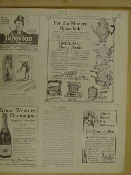 Great Western Champagne Tareyton London Cigarettes Old Overholt Rye Universal Landers Frary and Clark (1916)