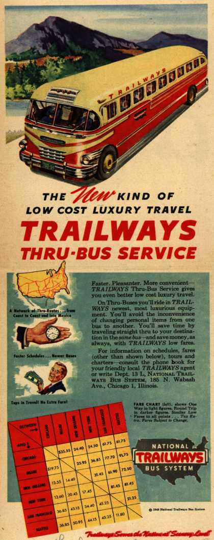 The New Kind Of Low Cost Luxury Travel Trailways Thru-Bus Service