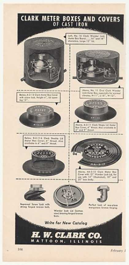 H W Clark Cast Iron Meter Boxes Covers (1952)