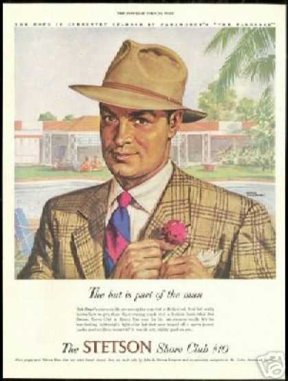 Bob Hope Stetson Shore Club Hat Art Vintage (1948)