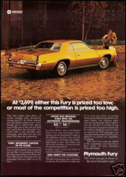 Plymouth Fury Priced too Low Car (1976)
