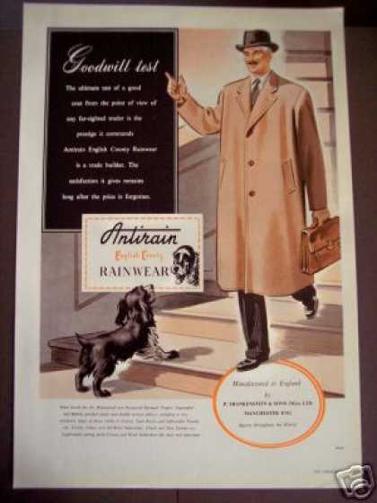 Antirain English Country Rainwear Raincoat Uk (1949)
