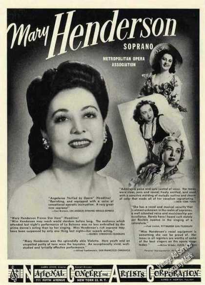 Mary Henderson Photo Soprano Opera Booking (1947)