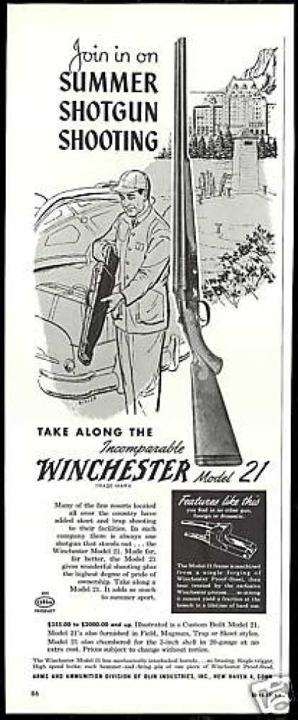 Winchester Model 21 Shotgun Bixler Art Vintage (1954)