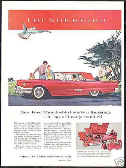 Red Ford Thunderbird Car Vintage (1958)