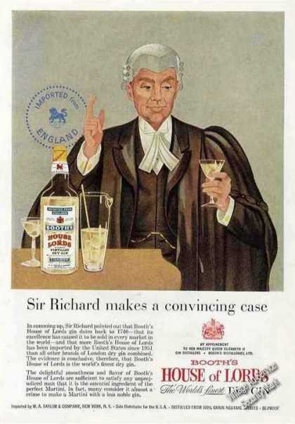 Booth's House of Lords Gin Sir Richard (1957)