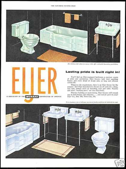 Eljer Green & Blue Bathroom Fixtures Vintage (1954)