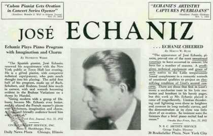 Jose Echaniz Photo Cuban Pianist Rare Booking (1934)