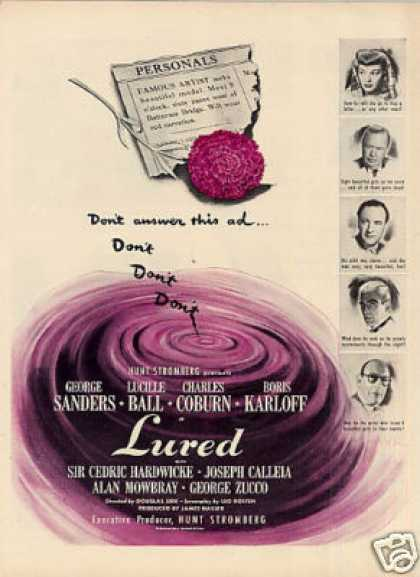 "Movie Ad ""Lured"" (1947)"