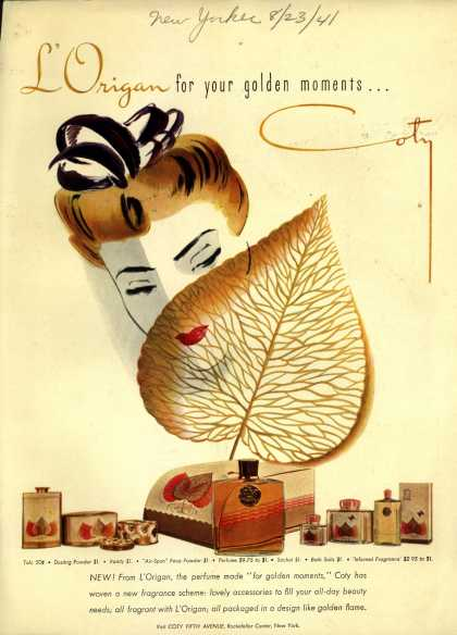 Coty's L'Origan Cosmetics – L'Origan for your golden moments (1941)