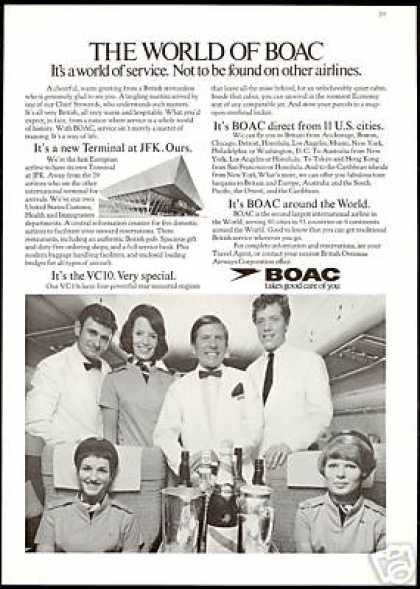 BOAC Airlines Steward Stewardess Photo B O A C (1971)