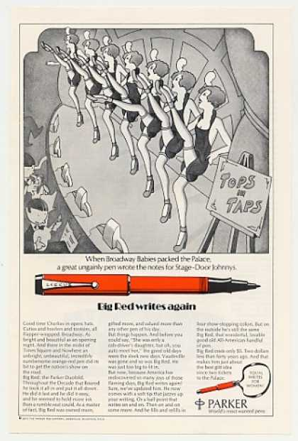 Parker Big Red Pen Broadway Chorus Line Girls (1972)