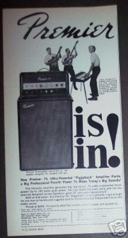 Premier Piggyback Guitar Amp Amplifier (1967)