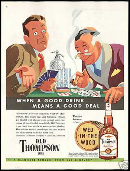 Old Thompson Whiskey Cards Good Drink Heier Art (1948)