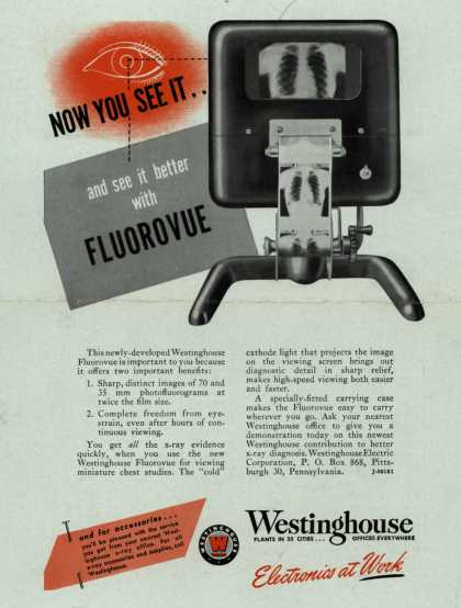 Westinghouse Electric Corporation's X-Ray Equipment – Now You See It.. And See It Better With Fluorovue (1947)