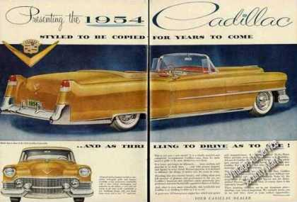 Cadillac Convertible Large 2 Page Car (1954)
