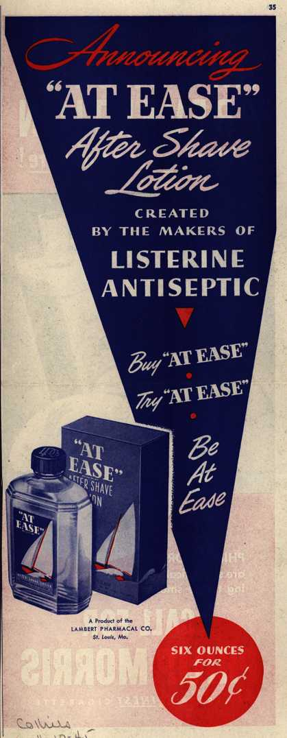 "Lambert Pharmacal Company's ""At Ease"" After Shave Lotion – Announcing ""At Ease"" After Shave Lotion (1945)"
