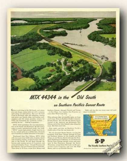 Mtx 44344 Southern Pacific Train Ad W/route Map (1945)