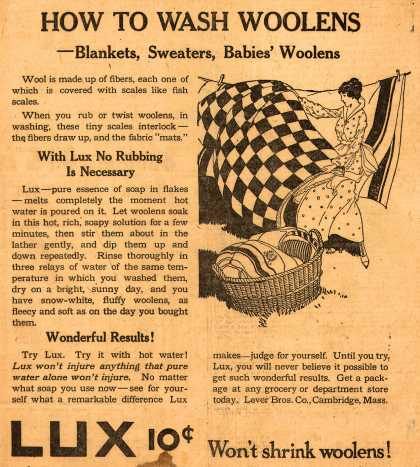 Lever Bros.'s Lux (laundry flakes) – How To Wash Woolens (1916)