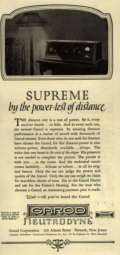 Garod Corporation's Radio – Supreme by the power-test of distance (1925)